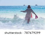 back of women tourists are... | Shutterstock . vector #787679299