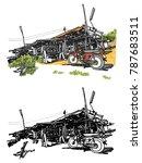 house village sketchbook style  ... | Shutterstock .eps vector #787683511