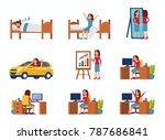 business woman work day scenes....   Shutterstock .eps vector #787686841