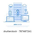 data center concept. flat line... | Shutterstock .eps vector #787687261