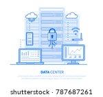 data center concept. flat line... | Shutterstock .eps vector #787687261