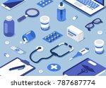 pharmacy concept. modern 3d... | Shutterstock .eps vector #787687774