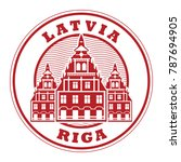stamp with the name of riga ... | Shutterstock .eps vector #787694905
