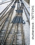 railway  tracks with dark rocky ... | Shutterstock . vector #78771541
