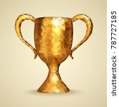 golden trophy with triangles....   Shutterstock .eps vector #787727185