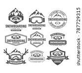 snowboarding mountain emblems ... | Shutterstock .eps vector #787729315
