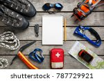 top view of tourist equipment... | Shutterstock . vector #787729921
