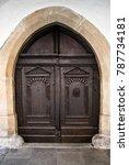 antique wooden door with... | Shutterstock . vector #787734181
