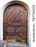 antique wooden door with... | Shutterstock . vector #787734205