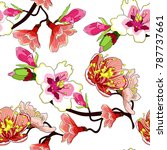 seamless pattern branch flower... | Shutterstock .eps vector #787737661