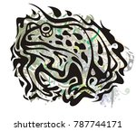 grunge toad symbol. tribal toad ... | Shutterstock .eps vector #787744171