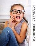 happy excited surprising kid... | Shutterstock . vector #787757104