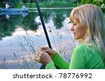 woman with a fishing tackle... | Shutterstock . vector #78776992
