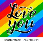 hand drawn love you lettering... | Shutterstock .eps vector #787781344