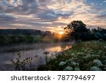 Dawn On A Misty River In The...