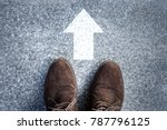 shoes standing on the concrete... | Shutterstock . vector #787796125