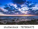 dramatic sunset on rocky... | Shutterstock . vector #787806475