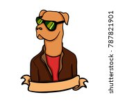 serious dog in a jacket and... | Shutterstock .eps vector #787821901