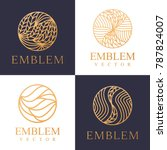 nature logo set. floral logo.... | Shutterstock .eps vector #787824007