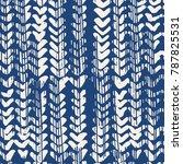 indigo vector tie dye seamless... | Shutterstock .eps vector #787825531