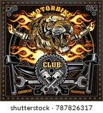 vintage tiger motorcycle label | Shutterstock . vector #787826317