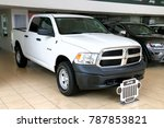 Small photo of Cancun, Mexico - June 4, 2017: White pickup truck Dodge Ram in the city street.
