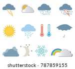 set of weather icons on a white ...   Shutterstock .eps vector #787859155