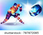 Vector illustration blue background in a geometric triangle of XXIII style Winter games. Olympic hockey on ice arena from triangle silhouette | Shutterstock vector #787872085