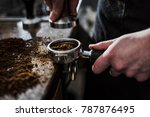 young barista is making a... | Shutterstock . vector #787876495