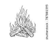 bonfire vector on white... | Shutterstock .eps vector #787881595