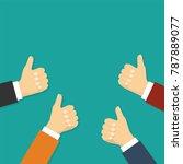 hands show thumbs up.... | Shutterstock . vector #787889077