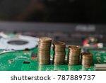 circuit board notebook green... | Shutterstock . vector #787889737