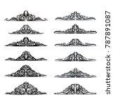 set of black isolated vector... | Shutterstock .eps vector #787891087