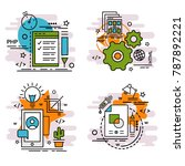 set of outline icons of... | Shutterstock .eps vector #787892221