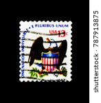 Small photo of MOSCOW, RUSSIA - NOVEMBER 24, 2017: A stamp printed in USA shows Eagle and Shield, Americana Issue serie, circa 1975