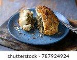 whole roast cauliflower stuffed ...   Shutterstock . vector #787924924