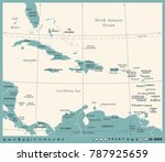 the caribbean map   vintage... | Shutterstock .eps vector #787925659
