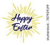 happy easter vector calligraphy ...   Shutterstock .eps vector #787929199