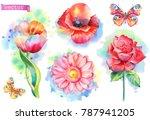 spring flowers set. watercolor... | Shutterstock .eps vector #787941205