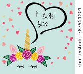 cute i love you card with... | Shutterstock .eps vector #787951201