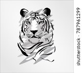 bengal cat head tiger isolated... | Shutterstock .eps vector #787961299