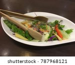 Small photo of Japan's salad plate with salad tongs