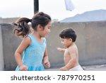 little poor latin siblings. | Shutterstock . vector #787970251