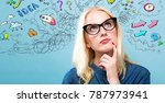 young woman with many thoughts... | Shutterstock . vector #787973941