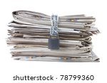 pile of newspapers with chains - stock photo