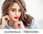 beauty portrait. attractive... | Shutterstock . vector #788032081