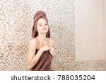 young woman relaxing in a sauna ... | Shutterstock . vector #788035204