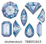 Purpule Diamond Crystals Vector Clip Art Set of 8 Gemstone illustrations   Shutterstock vector #788051815