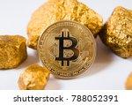 gold bitcoin coin. heap of gold....   Shutterstock . vector #788052391