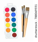 new palette of watercolour with ... | Shutterstock . vector #788069551